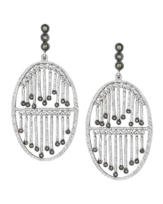 Spring Silver Double-Stick Diamond Earrings