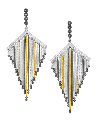 Spring Tricolor Statement Earrings with Diamonds