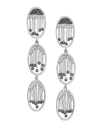 Spring Silver Three-Oval Diamond Earrings