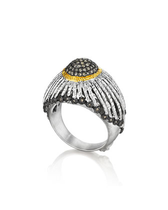 Spring Silver Ring with Gold Dome & Diamonds, Sz 6