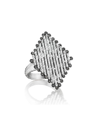 Spring Silver Diamond-Shaped Ring, Sz 6