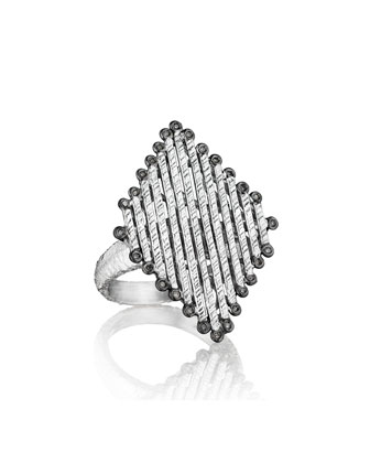 Spring Silver Diamond-Shaped Ring, Sz 8