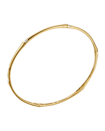 Slim Bamboo 18k Gold & Diamond Bangle Bracelet