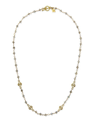 Sueno 18k Necklace with Labradorite Beads & Diamond Scrolls