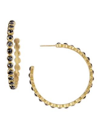 Black Diamond Eternity Hoop Earrings