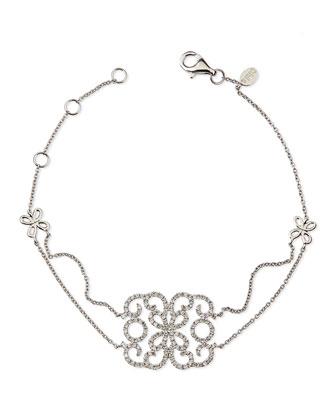18k White Gold & Diamond Lace Butterfly Bracelet