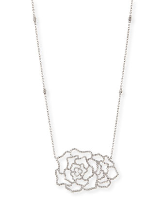18k White Gold & Diamond Dentelle Rose Necklace