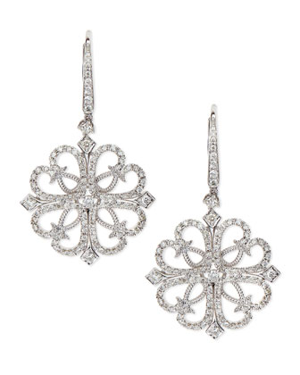 18k White Gold & Diamond Lace Drop Earrings