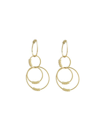 18k Gold Caviar Circle Drop Earrings