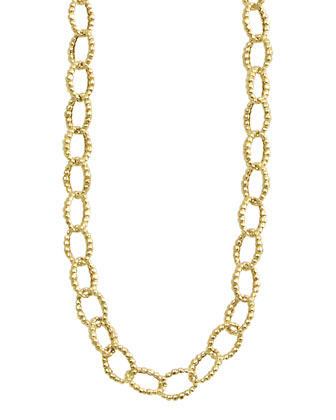 18k Gold Fluted Oval-Link Necklace, 39