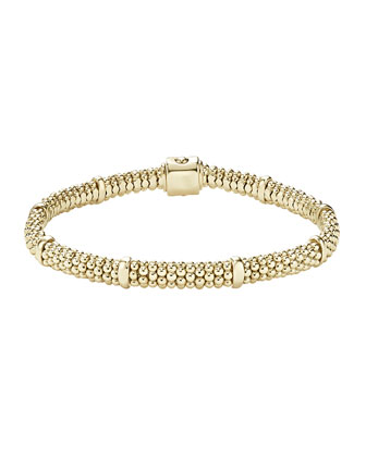 18k Gold Caviar Rope Bracelet, 6mm