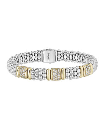 Sterling Silver Diamonds & Caviar Bracelet with 18k Gold