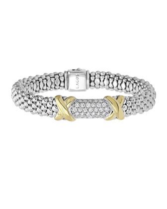 Sterling Silver Diamond Lux Bracelet with 18k Gold