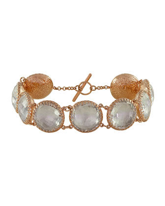 Olivia Gold-Washed Topaz Button Bracelet, White
