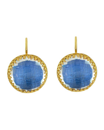 Olivia Gold-Washed Topaz Button Earrings, Azure