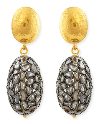 Bold Pastiche Oval Drop Earrings with Diamond Slices