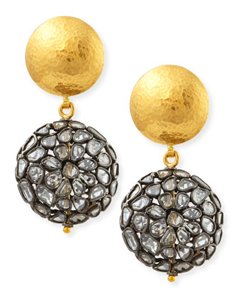 Bold Pastiche Round Drop Earrings with Diamond Slices
