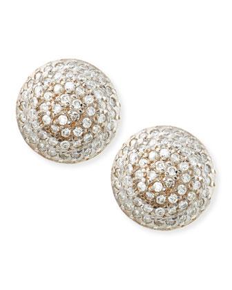 Lentil Ice 24k Gold & Diamond Button Earrings
