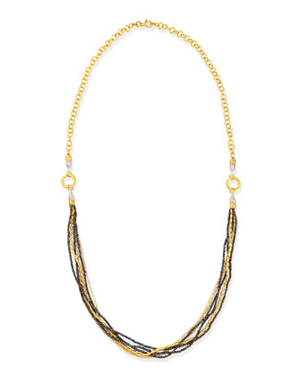 Sultan Collection Multi-Strand Gold & Black Diamond Necklace
