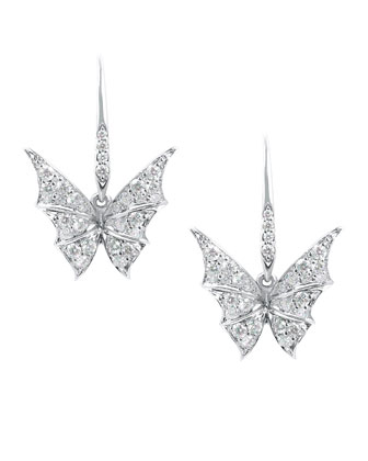 Fly By Night Mini Bat-Moth Diamond Earrings