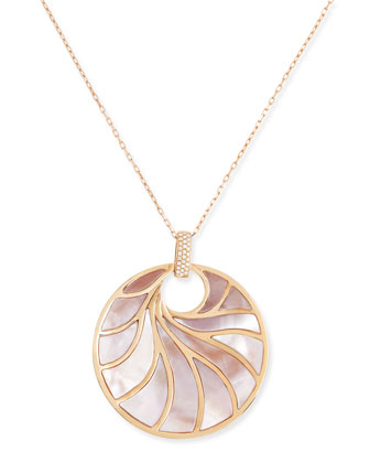 Large 18k Rose Gold, Pink Mother-of-Pearl & Diamond Pendant Necklace