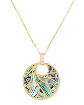 Medium 18k Yellow Gold, Abalone & Diamond Pendant Necklace