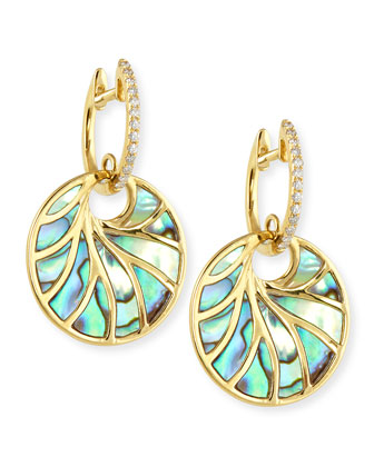 Small Yellow Gold, Abalone & Diamond Venus II Earrings