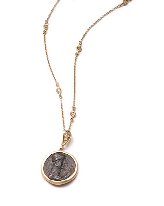 Antiquity 20k Simple Coin Pendant Necklace with Diamonds