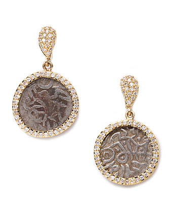 Antiquity 20k Dangling Coin Earrings with Diamonds