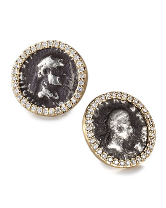 Antiquity 20k Coin Stud Earrings with Diamonds
