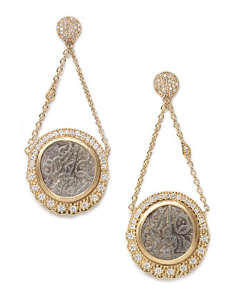 Antiquity 20k Double-Chain Coin Earrings with Diamonds