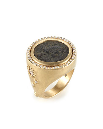 Antiquity 20k Coin Ring with Full Diamond Bezel