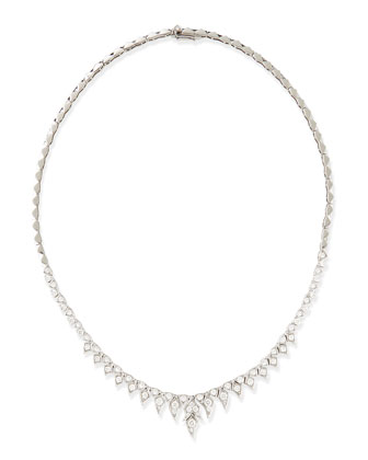 Magnipheasant 18k White Gold Pave Diamond Short-Drop Collar Necklace