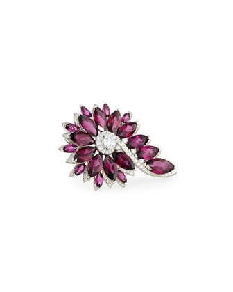 Magnipheasant Cocktail Ring with Red Garnet & Diamonds