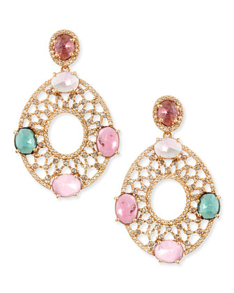 18k Yellow Gold Oval Earrings with Diamonds and Multicolor Tourmaline