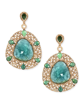 18k Yellow Gold Shield Earrings with Diamonds and Green Tourmaline