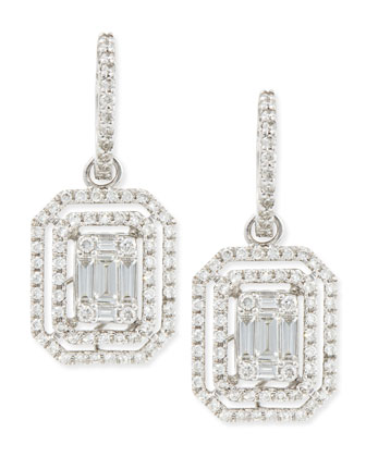 Emerald-Cut Diamond Hook Earrings with Illusion Setting and Double Halos