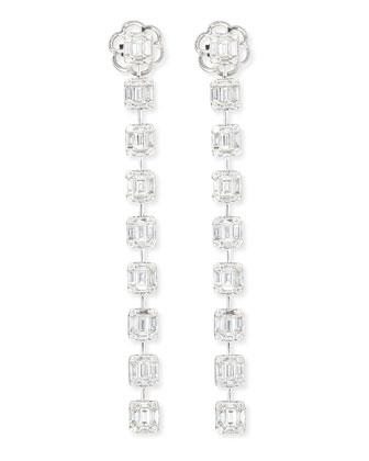 Emerald-Cut Diamond Long Drop Earrings