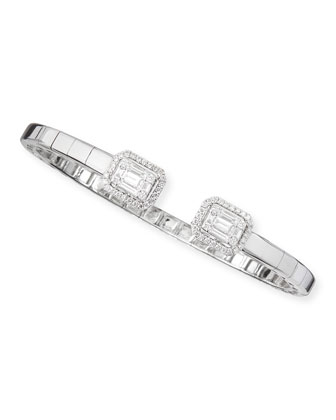 18k White Gold Emerald-Cut Diamond Bangle Single Halo End Caps