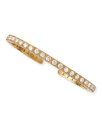 18k Yellow Gold Flex Bangle with White Diamonds