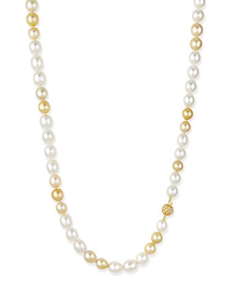 Golden & White Opera Pearl Necklace with Diamond Clasp