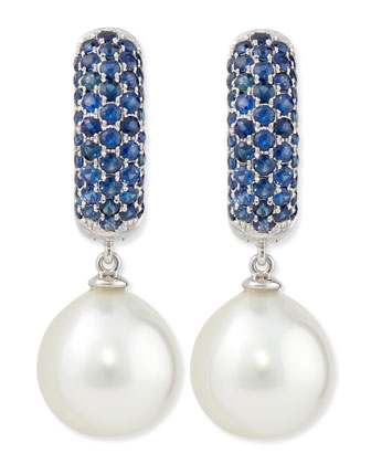Aura Tanzanite & White Pearl Earrings