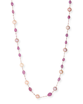 Kasumiga Pearl & Pink Sapphire Station Necklace