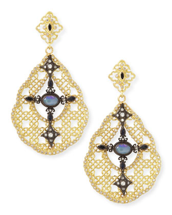 Old World Mesh Opal, Diamond & Sapphire Earrings