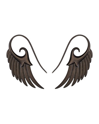 Fly Me To The Moon Wing Earrings in Black Rhodium Silver