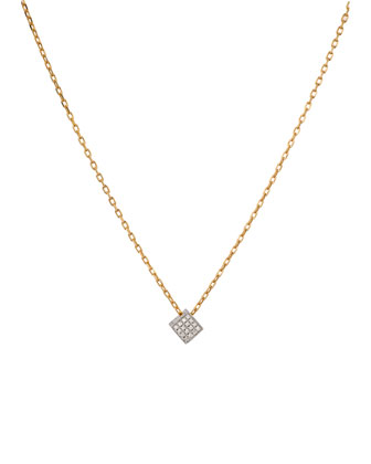 Geo 101 White Gold Diamond Cube Pendant Necklace