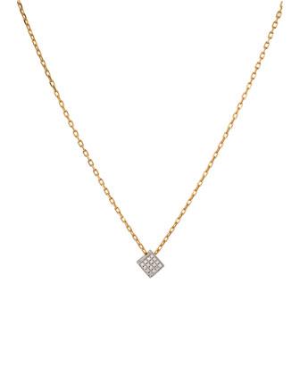 Geo 101 White Gold Diamond Cube Pendant Necklace