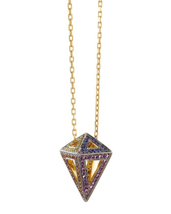 Geo 101 Rainbow Octahedron Rainbow Multi-Stone Pendant Necklace