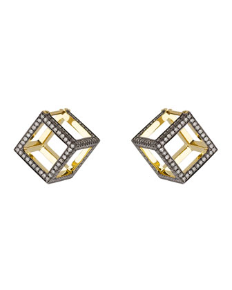Geo 101 Semi Dress 3D Cube Earrings with Diamonds