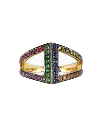 Geo 101 Multi-Stone Rainbow Rhombus Pinkie Ring